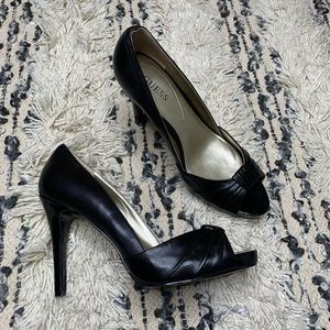 Guess Black Leather Peep Toe Platform Heel 8